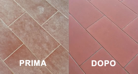 prima e dopo pulizia pavimenti cotto